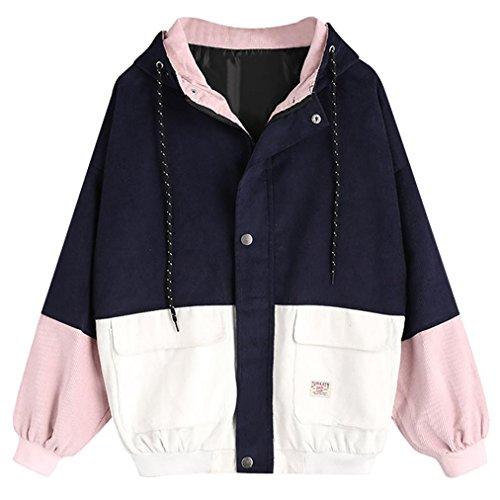 LeeY Neu Mode Damen Beiläufig Lange Ärmel Corduroy Patchwork Übergroß Reißverschluss Jacke Mantel Windjacke Mantel Frühling Herbst...