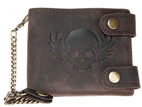 Ledergeldbörse mit Einer 45 cm Langen Metallkette zum Aufhängen ganz aus echtem Leder mit einem Schädel -