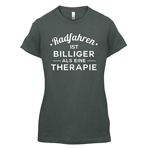 Radfahren ist billiger als eine Therapie - Damen T-Shirt - 14 Farben Dunkelgrau