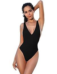 8d1c89b94684 SHEKINI Halter Thong Bikini Donna Un Pezzo Costume da Bagno Intero  Brasiliana High Cut Bodysuit Perizoma Costumi Interi V Neck Monokini Beach…