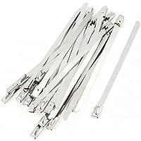 sourcingmap® 30 pezzi Acciaio Inox Zip Fascette 4.6mmx100mm per scarico Collettore