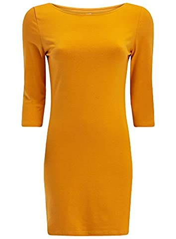 oodji Ultra Damen Jersey-Kleid Basic, Gelb, DE 42 / EU 44 / XL