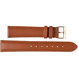 Kaiser Watches Leather Band Watch Strap Cognac Leather Watch Strap 18mm Clasp: Yellow 18mm