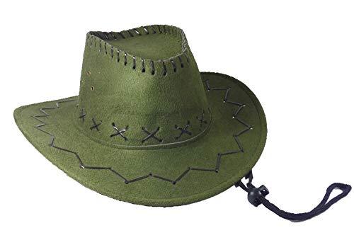Cowboyhut Hut Velourlederoptik Einheitsgröße braun, beige oder schwarz (grün) ()