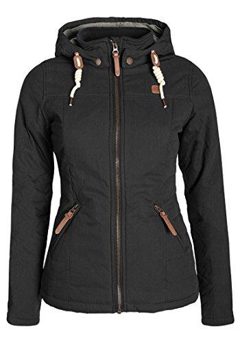 DESIRES Lewy Damen Übergangsjacke Steppjacke leichte Jacke gefüttert mit Kapuze und Stehkragen, Größe:L, Farbe:Black (9000)