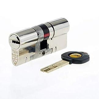 Yale – Cerradura europea de bombín cilíndrico para puerta de alta seguridad, anti rotura y anti golpes, níquel 35/35, uPVC, platino, 3 estrellas, 35 (int.) x 35 (ext.) TS2007:2014