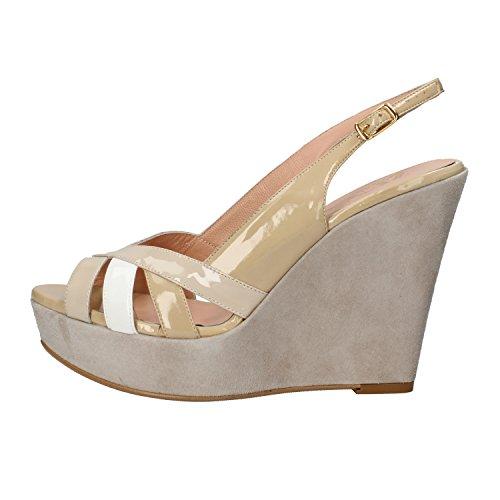 ZENA sandali zeppe donna bianco beige grigio vernice camoscio AF762 (41 EU)