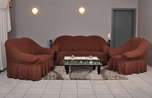 My Palace Stretch Sofabezüge 1er + 2er + 3er In Braun (Stretchhusse,  Sofa Husse, Sofabezug)/Sofabezug Ikea/sofabezuege 3 2 1/sofabezug  Groß/Garnituren Cover