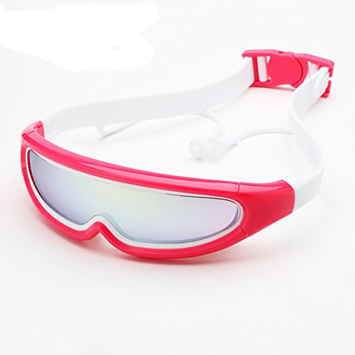 Kinder Schwimmbrille Wasserdicht Anti-Fog Plating Kinder Schwimmen Brille Jungen und Mädchen Große Rahmen Schwimmbrille, Schützen Kinder Augen, Farben sind optional. (Farbe : Rot)