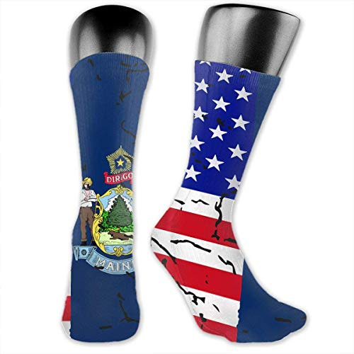 Wfispiy USA Maine State Flag Sport Compression Sock for Softball Walking -