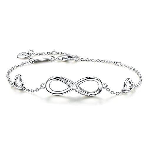 Pulsera Infinity del Amor, Infinito Brazalete de Plata de Ley 925, Pulsera Ajustable para Mujeres (Silver)