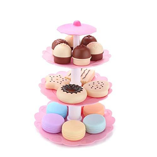 Leiyini Rollenspielzeug Simulierte Mini Kuchen Keks Donut Dessert Tower Set Kinder Kochen Set Kinder Backen Set Dress Up Rollenspiele Spielzeug ABS Umweltfreundlicher Kunststoff (Tower Dress Up)