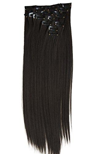 PRETTYSHOP XXL 50cm 8 teiliges SET Clip In Extensions Haarverlängerung Haarteil hitzebeständig glatt dunkelbraun 4 CES102