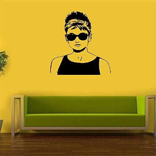 wandaufkleber 3d Wandtattoo Schlafzimmer Berühmtheit Audrey Hepburn moderne Hauptdekor-Stern-Sonnenbrille