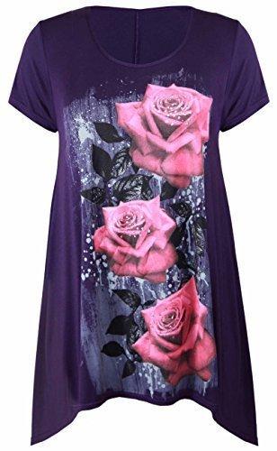 �ße Uneben Zipfelsaum Kurzarm T-Shirt oben Damen Blumen Rosen Druck Jersey Tunika - Lila, Damen, 50-52 (Womens Plus)