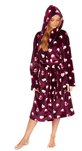 Tom Franks Damen Bademantel aus weichem Fleece Burgundy Heart