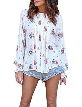 LuckyGirls Mujer Camisetas Manga Larga Flor Pintura Gasa Tops Blusa Sudaderas Camisas