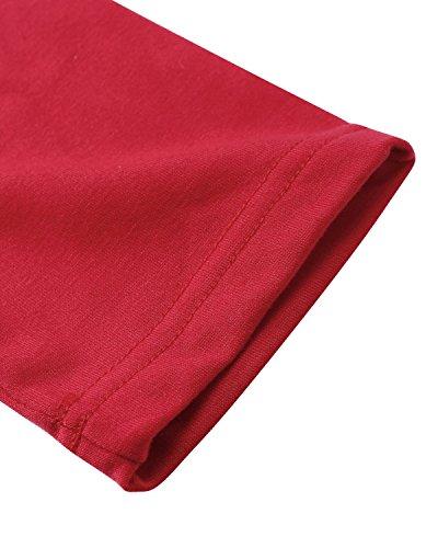 BIUBIU Damen V Ausschnitt Hoodie Kapuzenpullover Langarm Pulli Sweatshirt Jumper Rot