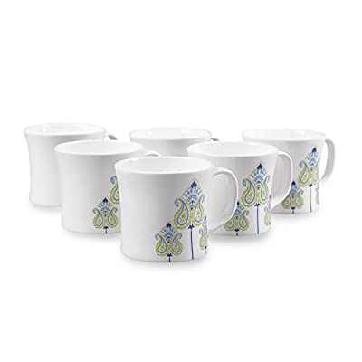 Clay Craft Liza MW Bone China Coffee Mug Set, 150ml, Set of 6, Multicolour (CM-LIZA-MW-J046)