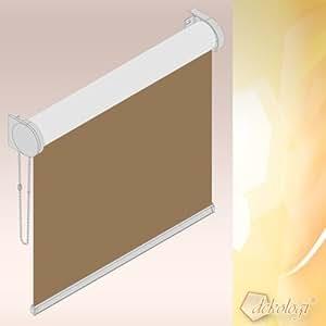 Kettenzugrollo blind, largeur :  55 cm x 100 cm-hauteur dans le tissu 153.08/marron (laisse passer la lumière du jour), côté d'exploitation de droit blanc, profilffarbe masque store enrouleur occultant, opaque/55 x 100 cm