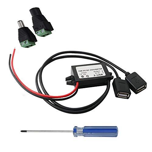 RUNCCI Power Step-down Transformer Buck Converter Voltage Regulator DC 12V bis 5V 3A Spannungswandler mit Dual USB für Auto Vehicle Motorrad Motor Ladegerät Audio Radio Step-down Voltage Converter Transformer