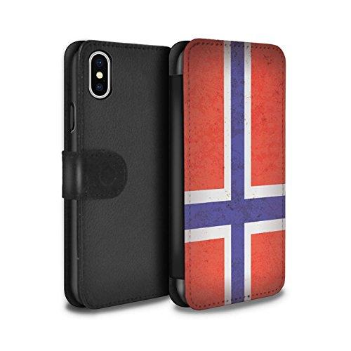 STUFF4 PU-Leder Hülle/Case/Tasche/Cover für Apple iPhone 7 / Mazedonien/Mazedonisch Muster / Europa Flagge Kollektion Norwegen/Norwegisch