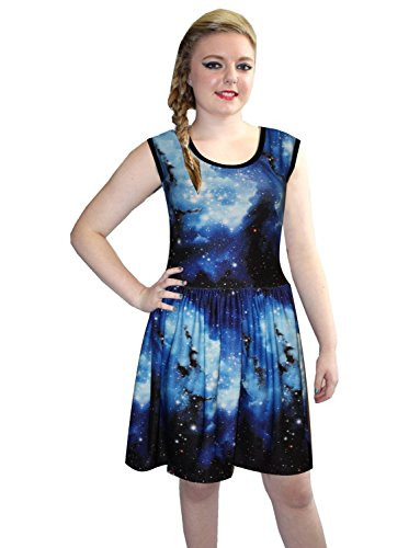 Cosmos Galaxy Dress Rockabilly Gathering Sleeveless Mehrfarbig - Mehrfarbig