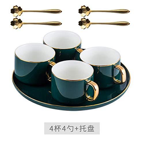 Tasse Anzug Becher Café Hotel Kreative europäische Art manuelle Gliederung in Gold Porzellanknochen Kaffeetasse und Untertasse klassische britische Nachmittagstee Blume Teetasse mit Löffel