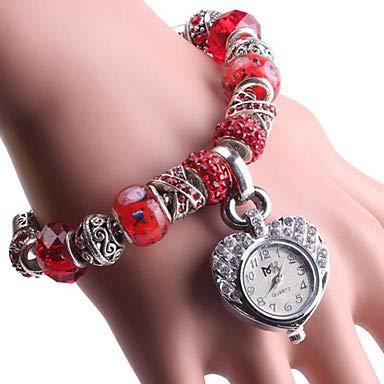 XKC-watches Herrenuhren, Damen Armband-Uhr Digital Kupfer Rot/Grün Analog Rot Grün (Farbe : Rot)