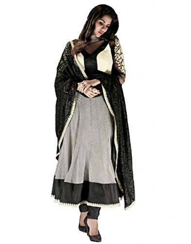 Inddus Women Georgette Embroidered Embellished Black Anarkali Salwar Kameez