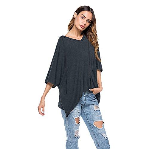 Damen Kapuzenpullover Hälfte Ärmel Übergroß Jumper Pullover Tops Bluse Kapuze Sweatjacke (Grau, XL) (Drucken Bluse Bauer)