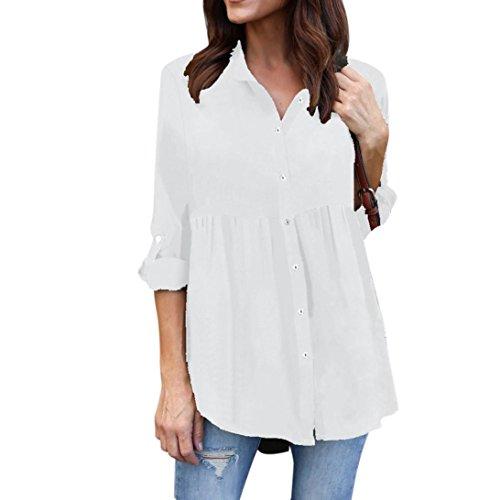 MRULIC Womens Plus Size Solid Langarm Casual Chiffon Damen OL Arbeit Top T-Shirt (EU-38/CN-S, Weiß)