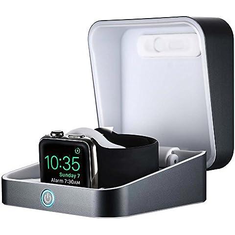 Estuche de carga para Apple Watch, COOPER WATCH POWER BOX. Batería externa portátil inalámbrica. Estación de carga con soporte horquilla en Aluminio con batería de 3000 mAh incorporada para Apple Watch de 38 mm y 42 mm (Gris