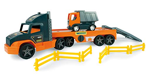 Unbekannt Wader 36710 Super Tech Truck - Camión de Juguete con volquete y Barrera (a Partir de 3 años, Aprox. 78 cm.