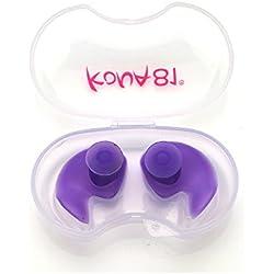 Barracuda KONA81 Tapones para los oídos para natación Silicona Resistente al cloro Impermeable Blando Flexible Adulto Hombre y Mujer Niño Chico (Morado)