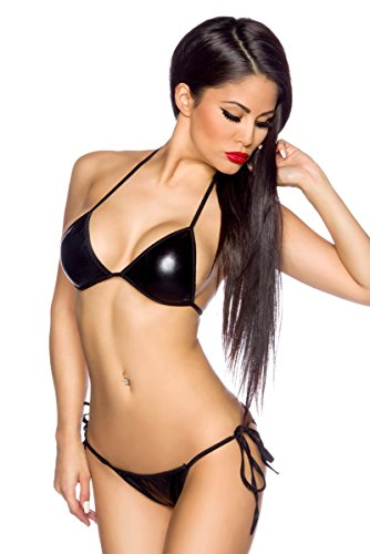 Bikini Metallic-Look - schwarz