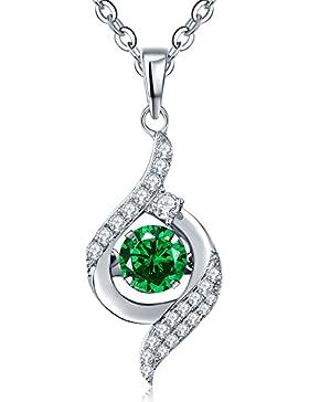YH Schmuck Damen 925 Sterling Silber Smaragd Anhänger Halskette mit Swarovski Kristall mit Kette 45cm