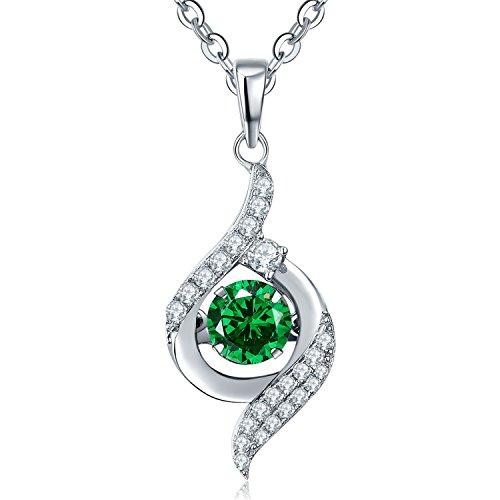 Smaragd-herz-swarovski-ohrringe (YH Schmuck Damen 925 Sterling Silber Smaragd Anhänger Halskette mit Swarovski Kristall mit Kette 45cm)