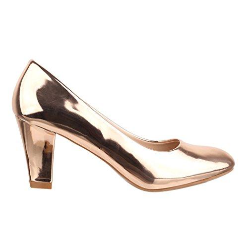 Elara Damen Pumps | Bequeme High Heels Lackoptik Trichterabsatz | Vintage-Style | Chunkyrayan 7056-P-Champagner-38 - 3