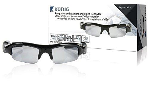 König SAS-DVRSG11 Sonnenbrille mit versteckter Kamera, Transparent, Schwarz