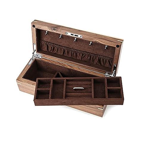 Schwarze Walnuss Holz Schmuck-Box/ Smaragd Schmuck-Box/ doppelte Verriegelung Aufbewahrungsbox-A