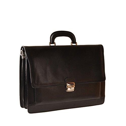 Pellevera Angostino Italienische Aktentasche aus Leder. Business-Tasche (brun) schwarz