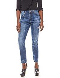 RICK CARDONA Schlichte Hose Jeans mit Stickerei Kurzgröße Denim Blau f492aa2624