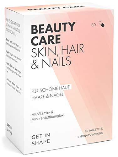 BEAUTY CARE Haar – Vitamine (hochdosiert) Biotin + Zink + Selen mit Folsäure, Kupfer und B-Vitamine. 60 vegane Kapseln für 2 Monate von GET IN SHAPE