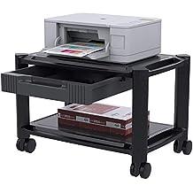 Soporte de Impresora - Carro Impresora Debajo de la Mesa con 4 Ruedas Giratorias y Cajón