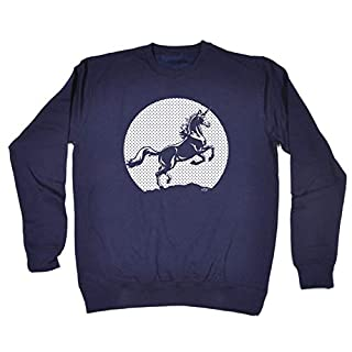 Funny Novelty Sweatshirt - Sunset Unicorn Sweater Jumper Jumpers Sweats Ancon Mythical Horse Pony Riding Sweatshirts Slogan for Adults Women Soft Graphic Mens Cool Guys Ideas Navy Blue