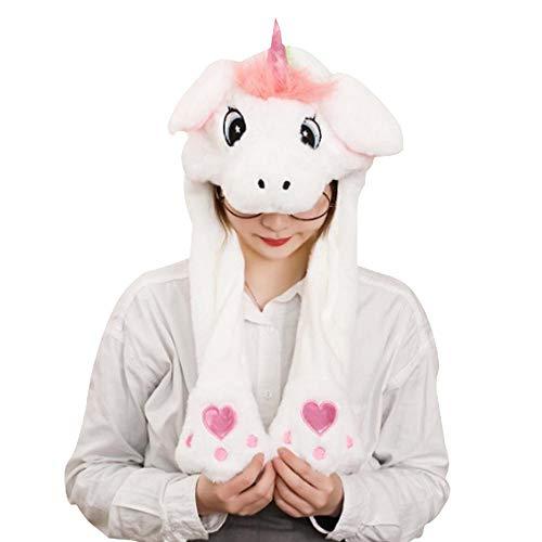 Teepao Lustiger Hasenhut, süßer Plüschhut mit beweglichen Hasenohren, Springender Hasenhut, Tier-Ohren-Hut für Mädchen Frauen Geburtstag Party und Event weiß