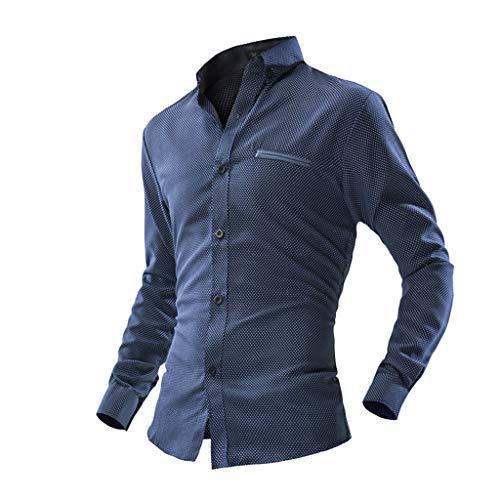 Bfmyxgs Herren Langarm-Gitter Malerei Große Größe Lässige Top Bluse Shirts Button Gut Gekleidet