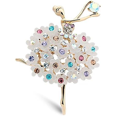 Tiempo Pawnshop elegante Ballet ángel flor colorida Cubic Zirconia Encanto Broche