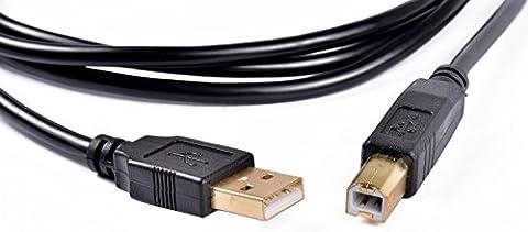Kemket Câble USB 2.0type A vers B de remplacement pour imprimantes et scanners Brother, Canon, CyberPower, Dell, Epson, Fujitsu, HP, IOGEAR, Lexmark, et Panasonic 1,5m, 3m et 5m